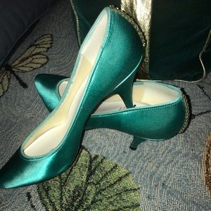 Green Satin Shoes with Rhinestones